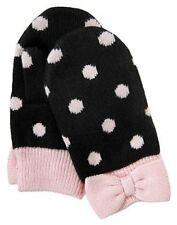 Gymboree Tres Fabulous Black w/ Pink Polka Dots Bow MITTENS Gloves 12-18-24 NWT