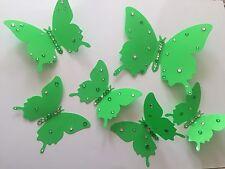 6 x 3D Brillante Lime Verde Farfalle Camera Adesivi Deco a mano Decorato Diamante