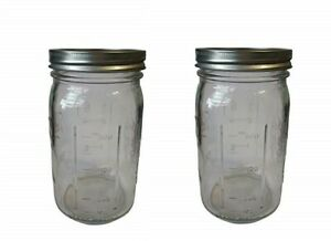 Mason Style Jars Preserving Wide Mouth Jar Glass Gift Vintage Style x 2