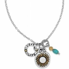 NWT Brighton Art & Soul CHERISH Sunflower * LONG * Necklace  Silver MSRP $66