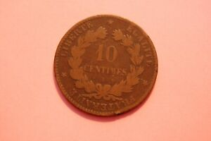 FRANCE - 1872 TEN CENTIMES (10c) REPUBLIC OF FRANCE COIN