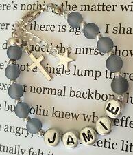 Boys personalised name bracelet keepsake/christening/first holy communion gift.