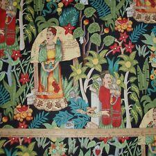 Cotton Fabric Alexander Henry Frida's Garden Kahlo Monkey Parrot on BLACK  BTY
