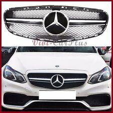 For 14-16 Benz W212 E250 E350 E550 Sport Model E63 Look Chrome Front Grille Set