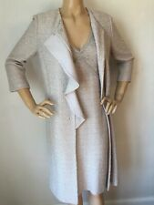 NEW ST JOHN KNIT SZ 16 DRESS & TOPPER SILVER SHIMMER KNIT