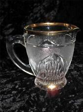 Superb Vintage Glass Milk Cream Jug Frosted Pattern with Gilded Rim 1950s