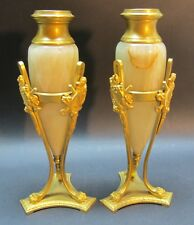 Fine Pair of French Empire Gilt Bronze & Onyx Candleholders  c. 1890