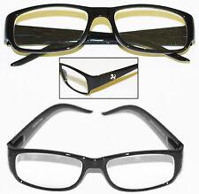 """Reading Glasses """"Pony Logo"""" Black Frame Chunky Sleek Rectangle +2.00 lens"""