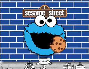 COOKIE MONSTER PERSONALISED BIRTHDAY PARTY BANNER BACKDROP BACKGROUND