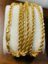 """22K Fine 916 Yellow Gold Mens Rope Necklace With 24"""" Long 4mm USA Seller"""