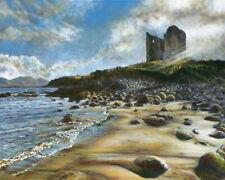 "Minard Castle, Dingle, West Ireland coast art, 20x16"" painting, ready to hang"