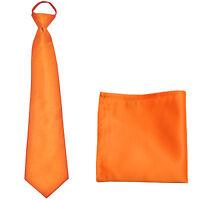 New Polyester Men's ready knot pre tied neck tie & hankie solid formal orange