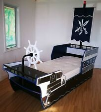 Childrens Large Pirate Ship 3ft Single Bed Frame -Cannon design,Ship Wheel,Flag