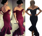 Ladies Formal Wedding Evening Cocktail Off Shoulder Maxi Dress Mermaid Long Gown
