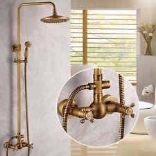 Antique Brass Shower Faucet 8''Rainfall Shower Head With Hand Shower Mixer Tap