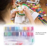 50 Colorful Embroidery Thread Starter Kit Fabric-Set Cross Stitch Craft Tools US