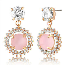 Swarovski Elements Rose Gold Plated Pink Cluster Halo Drop Earrings-Bridal Gift