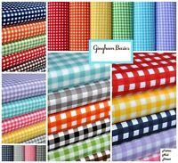"""Gingham 1/4 Checkered Poly Cotton Fabric Prints - 59/60"""" Wide - Sold By The Yard"""