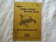 1954 Minneapolis Moline Wp Wph Wheatland Plow Operators Manual Amp Parts Catalog