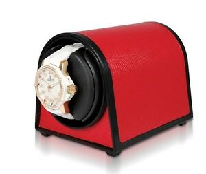 ORBITA Sparta MINI Watch Winder in Red Leatherette ,  ROTORWIND, Made In the USA
