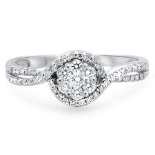 F/VS 0.32carat Round Brilliant Cut Diamonds Engagement Ring,18k Solid White Gold