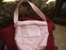 Handmade All Cotton Pink flower dots design quilted tote front pocket snap close