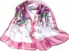 Lady's Fashion Flower Print Georgette Chiffon Long Wrap Shawl Beach Silk Scarf