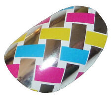 CHIX Nail Wraps Silver Weave Pink Blue Yellow Mirror Foils SALON QUALITY des22