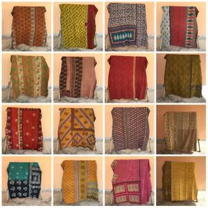 Vintage Indian Handmade Quilt Kantha Bedspread Throw Cotton Blanket Ralli Gudari
