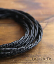 Twisted coloured fabric lighting cable flex: black - vintage - sold per metre