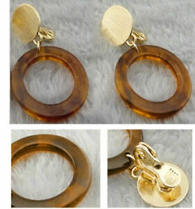 4cm GOLD PLATED curved studs RETRO OVAL HOOP tortoiseshell amber lucite EARRINGS