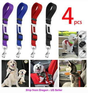 4 Pack Cat Dog Pet Safety Seat belt Clip for Car Vehicle Adjustable Harness Lead