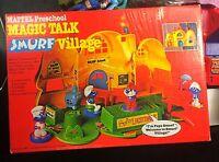 Vintage Mattel Preschool Magic Talk Smurf Village Original Box Almost Complete