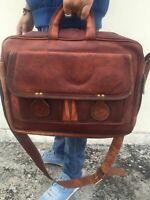 Men's Shoulder Bag Business Brown Leather Briefcase Handbag Messenger Laptop Bag