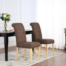 8 X Deluxe Fabric Dining Living Room Chairs Scroll High Back Brown