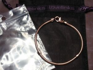 ** Genuine Lovelinks 21cm ROSE GOLD LOBSTER CLASP Silver Bracelet  RRP £89.00 **