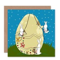 Bunny Egg Painting Easter Rabbit Blank Greeting Card With Envelope