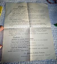Ancien Tract Politique 1933 Etudiants d'Action Française contre le Décret Cheron