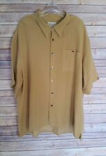 Pronto Uomo Short Sleeve Button Front Shirt Gold Yellow Modal Blend Mens Size 2X