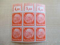 Briefmarken Deutsches Reich postfrisch Mi. Nr.517 Sechserblock Walze mit Oberran