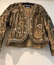 Carolyne Roehm Vintage Gold Sequin Evening Jacket Size 12