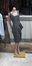 Amanda Wakeley UK 12 Divine Designer Quirky 2pc Grey Suit Dress & Jacket Set FAB