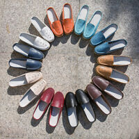 Size 5-12 Womens Real Leather Flats Backless Loafers Casual Mules Slides Shoes