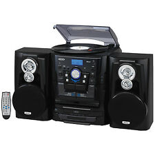 JEN-JMC-1250 Bluetooth 3.0 Belt Drive 3-Speed Stereo Turntable 3 CD Changer