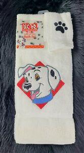 VTG Disney 101 Dalmatians Terry Bath Towels Set Canon USA New Rare