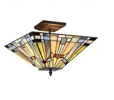 Semi Flush Ceiling Lighting Stained Glass Light Fixture Tiffany Style Art Deco