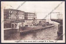 TARANTO CITTÀ 78 PONTE GIREVOLE - NAVE R. E. PANTERA SHIP Cartolina viaggiata