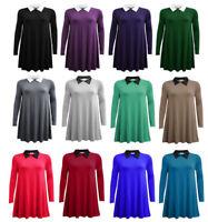 Women's Ladies Long Sleeve Swing Dress Peter Pan Collar Mini Skater Flared Dress