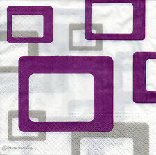 4 motivservietten servilletas napkins tovaglioli lila retro rectángulos (968)