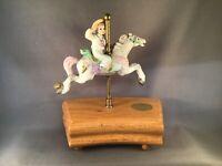 "MUSIC BOX ""THE AMERICAN CAROUSEL"" CERAMIC HORSE AND BOY ARTIST TOBIN FRALEY"